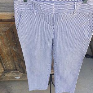 Crop blue white stripe Ann Taylor pants